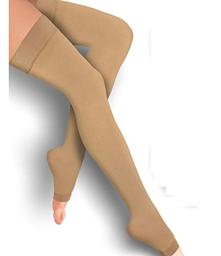 Thigh High Compression Stockings 20-30mmHg Open-Toe
