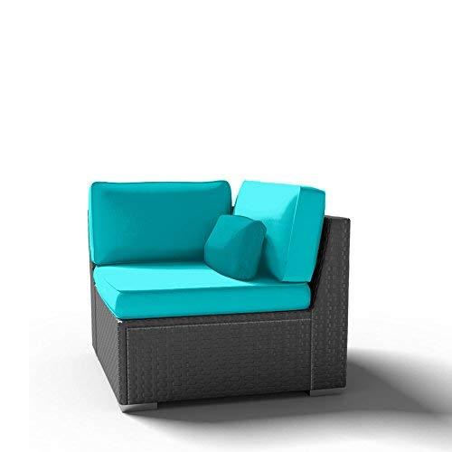 Dineli Corner Chair (Right) Outdoor Patio Furniture Espresso Brown Wicker Sofa (Turquoise)