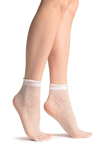Small Polka Dots And Rounded Trim Top White Socks Ankle High 15 Den - (Dot Fishnet)