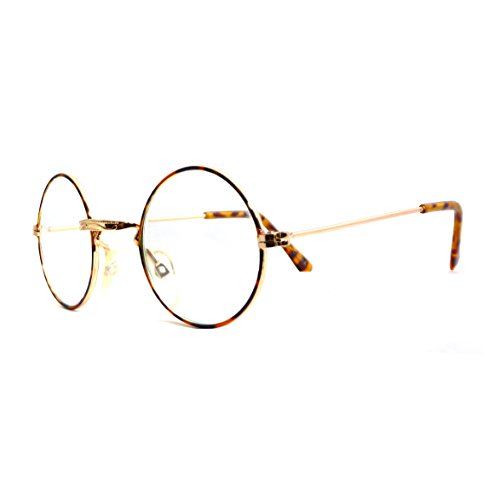[JOHN LENNON Vintage Retro Round Metal Frame Clear Lens Eye Glasses GOLD/TORTOISE] (Vintage Halloween Costumes From The 80s)
