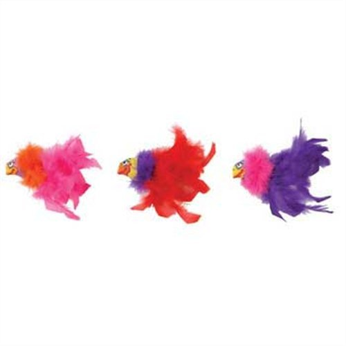 Bamboo Pet CAM650664 Fat Cat Showgulls Catnip Feather Toy, Pink and Blue, My Pet Supplies