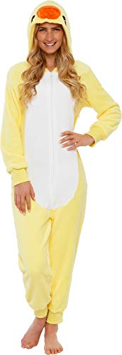 Animal Jumpsuits For Adults (Silver Lilly Slim Fit Animal Pajamas - Adult One Piece Cosplay Duck Costume (Yellow,)