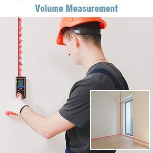 FLOUREON 100m Laser Distance Meter Laser Measure Laser Tape Measure Digital Measure Tool Laser Measuring Tape IP54 Waterproof with Backlight 4 Line LCD Display Battery Included