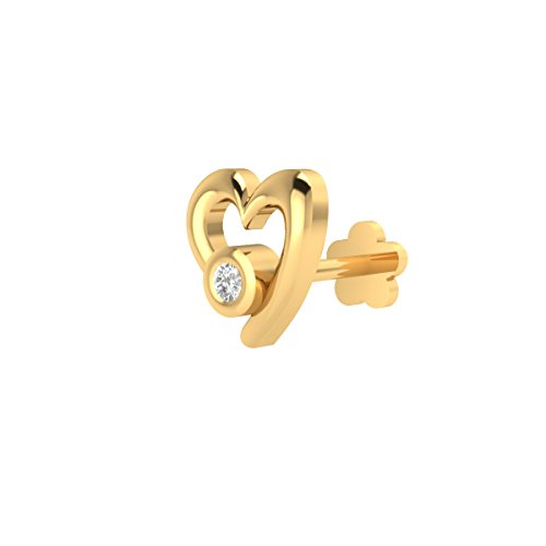 (Animas Jewels DGLA Certified 14k Yellow Gold Heart Stud Nose Pin for Women 0.01 Cttw Natural Diamond (G-H Color. I1 Clarity) Round Cut Bezel Setting. Available Length 8 mm )