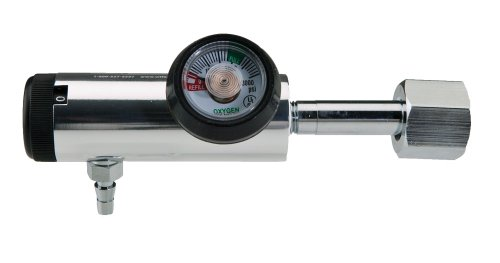 Oxygen Regulator Standard Body-CGA540, 0-4 LPM, barb outlet with BLACK color coded gauge protector (Outlet Barb)