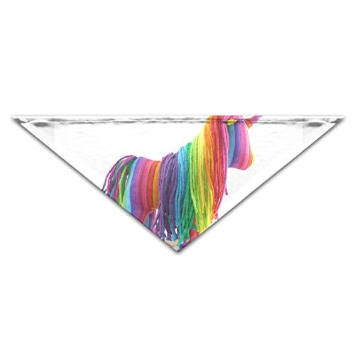 HJudge Dog Bandana Rainbow Stripe Unicorn Dog Scarf Great Pet Triangle ()