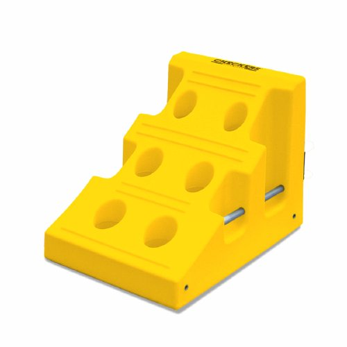 Monster MC2000 Chockzilla Urethane Ultra Heavy Duty Mining Wheel Chock, 400 ton Load Capacity, Yellow, 30'' Length, 22'' Width, 22'' Height by Checkers Industrial Safety Products