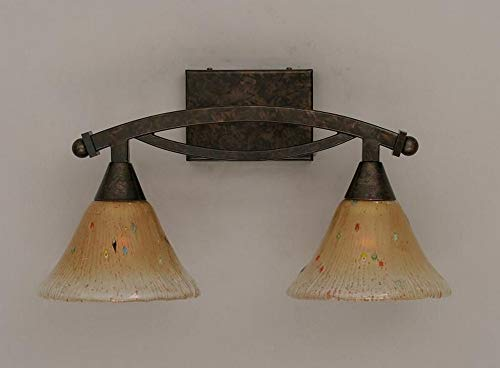 Toltec Lighting 172-BRZ-750 Bow - Two Light Bath Bar, Bronze Finish with Amber Crystal Glass