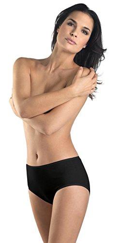 Hanro Women's Cotton Seamless Full Brief Panty, Black, Medium