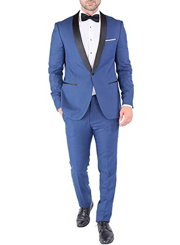 Vincent Bridal Men's Shawl Lepal 2 Pieces Suit Wedding Blazer Groom Tuxedos Formal Suits(Custom Made,Blue) (Wedding 3 Piece Suits For Groom In India)