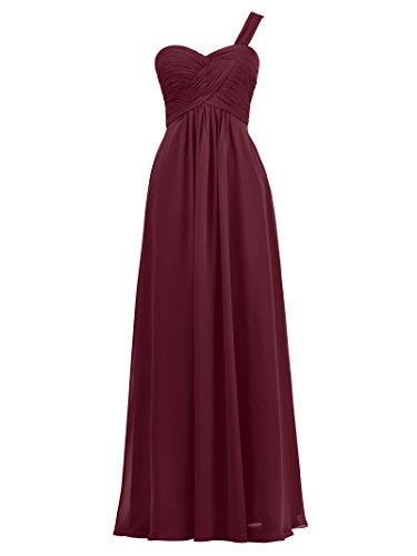 Prom Evening Dress Women' Asymmetric Long Bridesmaid Burgundy Alicepub Party Chiffon Gown w08fRtq