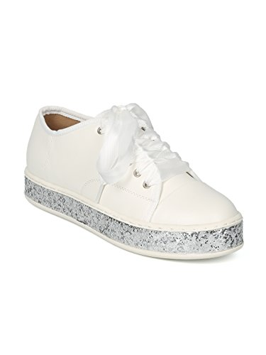 Women Leatherette Low Top Lace Up Glitter Creeper Sneaker - HK78 Wild Diva - White Leatherette (Size: 8.0)