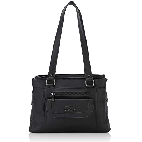 Angel Barcelo Women Soft Leather Handbags Satchels Shoulder Bags Casual Purses Top-Handle Handbag for Girl Black (Double Handle Handbags)