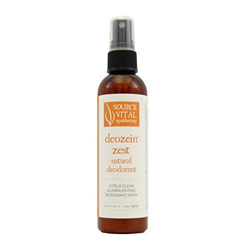 Source Vitál Apothecary   Deozein Zest Natural Spray Deodorant   Free of Parabens and Baking Soda, Non-Toxic, Odor-Controlling for Men and Women   4.46 Fl Oz.