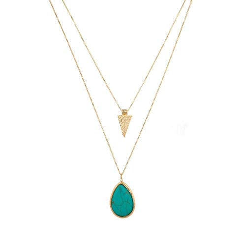 Lux Accessories Gold Tone Turquoise Stone Teardrop Arrowhead Double Layered Necklace ()