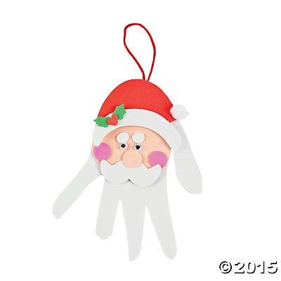 Fun Express Foam Handprint Santa Christmas Ornament Decoration Craft Kit-Makes 12 ()