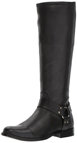 FRYE Women's Phillip Harness Tall Boot, Black Veg Calf Leather 7 M US