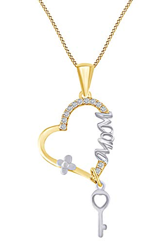 AFFY 3/4 Carat Round Ruby & Natural Diamond Mother & Child Pendant in 14k Yellow Gold Over Sterling Silver (0.75 Cttw)