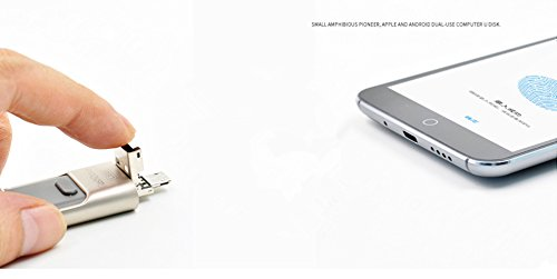 [iOS9 Compatible] BT Mobile USB Flash Drive with Lightning Connector for iPad 4/Air/Mini, iPod Touch 5, iPhone 5 5S 5C 6 6 Plus,Android system (Silver 64GB)