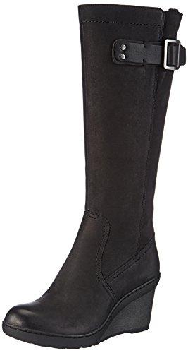 Clarks Natira Kitra - botas de caño alto de cuero mujer negro - negro
