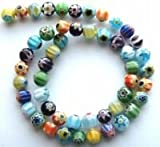M7 10mm Millefiori Lampwork Beads, 10mm Multi Single Flower