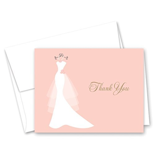- 50 Cnt Pink Bridal Shower Thank You Cards - Wedding Dress