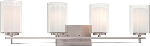 Minka Lavery Wall Light Fixtures 6104-84 Parsons Studio Bath Vanity Lighting, 4 Light, Nickel