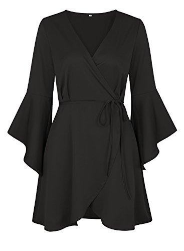V Donne Wrap Delle Dress Manica Cintura Destinas Corto Partito Nera Campana Collo Con Abito Chiarore Del xq8CtXtS