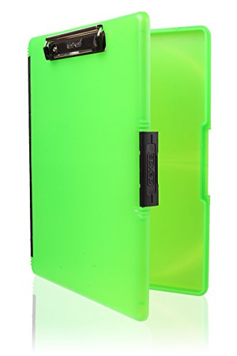 Dexas Slimcase 2 Storage Clipboard with Side Opening, Neon (Green Storage)