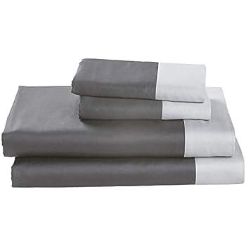 Rivet Color Block 100% Supima Cotton Bed Sheet Set, Full, Pewter / White