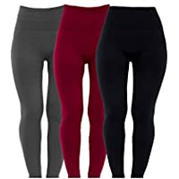 Diravo 3 Pack Womens Fleece Lined Leggings High Waist-Stretch Leggings Pants Thick