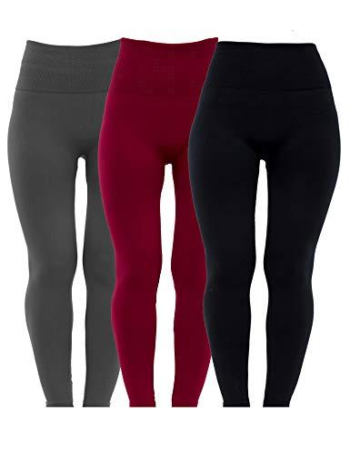 Diravo 3 Pack Womens Fleece Lined Leggings High Waist-Stretch Leggings Pants Thick