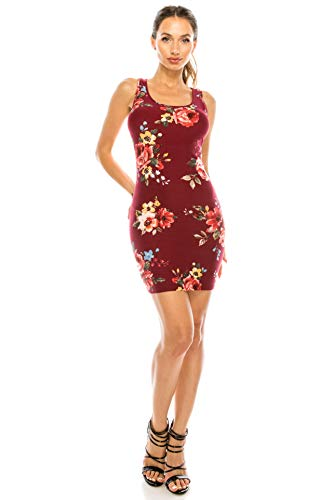 Vuetique Women's Solid or Print Racer-Back Body-Con Mini Dress Made in USA Floral Burgundy S