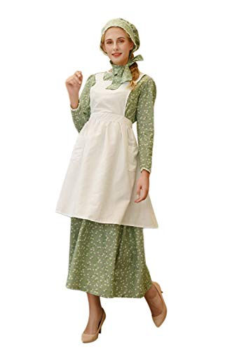 ROLECOS Pioneer Costume Dress Womens American Historical Clothing Modest Prairie Colonial Dress Green ()
