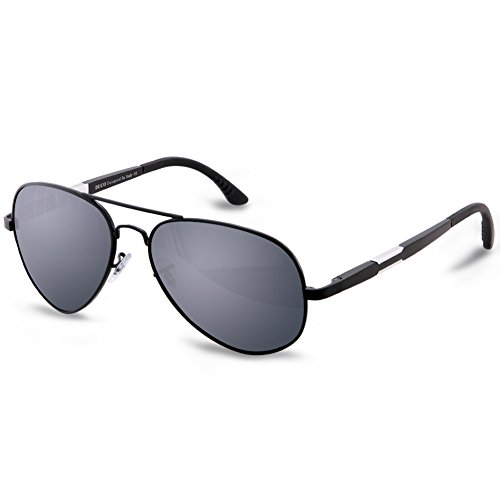 DUCO Aviator Style Oversize Polarized Sunglasses For Outdoor Sports Fishing Golf UV Protection 3026 Black Frame Gray - Shades Ran