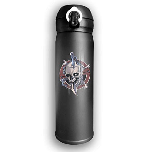 Dicobrune Double Wall Vacuum Insulated Stainless Steel Sports Water Bottle,Personalized Skull Stainless Steel Leak Proof Thermos 17 Oz ()