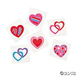 72 Colorful FUN HEART Temporary TATTOOS/VALENTINE'S DAY PARTY