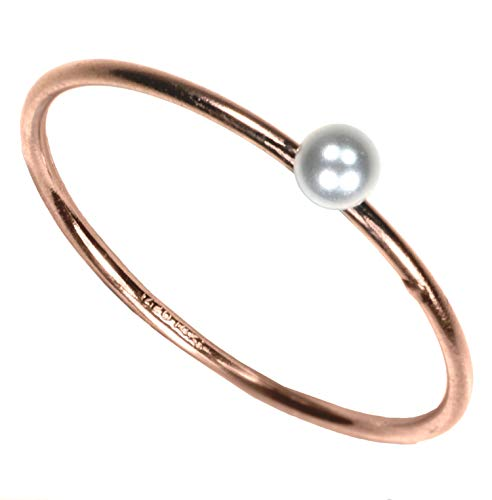uGems 14kt Rose Gold Fill Simulated Pearl Stackting Ring Size 8 ()