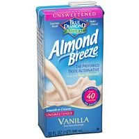Blue Diamond Growers Unsweetened Vanilla Almond Breeze, 32 Ounce -- 12 per case.