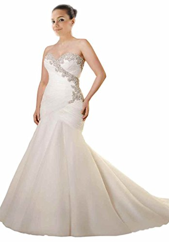 Mollybridal Sweetheart Bling Crystal Pleated Mermaid Plus ...