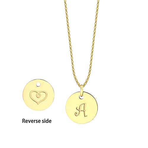 JIUBAN Initial Necklace Letter Round Disc Pendant Double Side Engraved Adjustable Personalized Necklace(26 Alphabets A to Z)