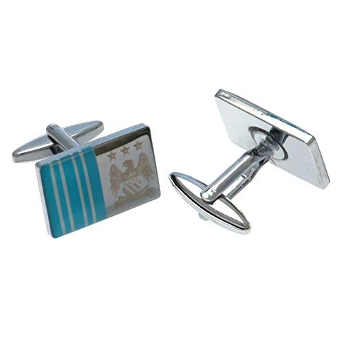 Manchester City FC Cufflinks FS - Features laser crest and team color stripes - Approx. .7