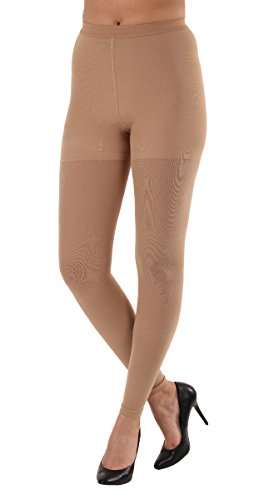 Graduated Women's Compression Stockings Leggings with Control Top - Firm Graduated Support 20-30mmHg, Color Beige, Size 2XL, Absolute Support SKU: A717BE5