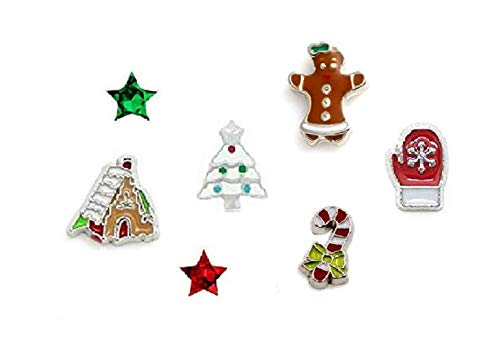 Cherityne Christmas Themed Set of 7 Floating Chams for Locket Pendants