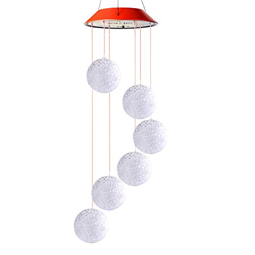 UDYR Color Changing Wind Chimes Solar Power LED Light Night Lamp Spiral Spinner Crystal Ball Wind Bell Waterproof Outdoor Romantic Decor for Patio Yard Garden Home