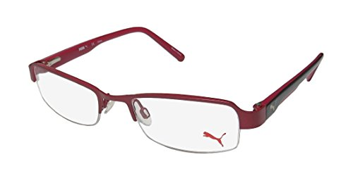 Puma 15383 Womens/Ladies Designer Half-rim Flexible Hinges Eyeglasses/Eyeglass Frame (49-18-135, Raspberry / Black)
