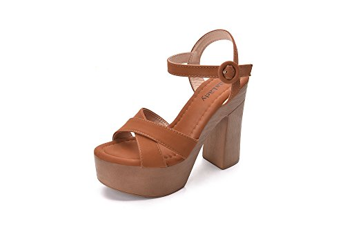 Retro Wooden Platform Ankle Strap Adjustable Buckle with Chunky Statement Sole Heeled Sandals for Women, LALA Camel Size 6.0