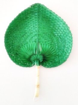 Natural Buri Palm Hand Fan, Perfect for Summer, Party and At Beach (Green Color)
