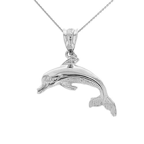 CaliRoseJewelry Sterling Silver Jumping Dolphin Ocean Sea Animal Pendant Necklace, 16""