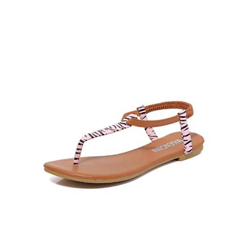 bescita Frauen Mode Sandale Sommer Wohnung Flip Flops Sandalen Böhmen Schuhe (39, Rosa)